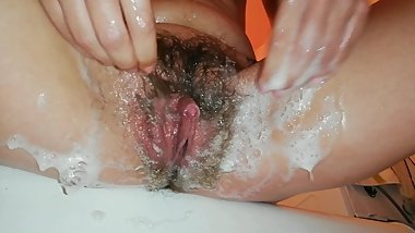 Pissing And Shaving My Extreme Hairy Big Clit Pussy In Close Up