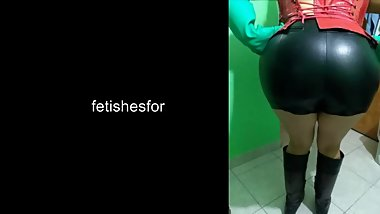 preview: handjob long rubber gloves leather shorts riding boots pvc corset
