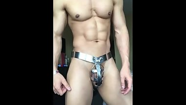 SEXY MUSCLE ASIAN LOCKED IN CHASTITY BELT