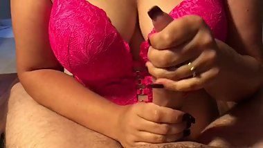 Sexy girl does teasing, edging handjob