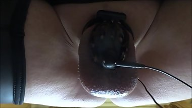 My estim fun with chastity device