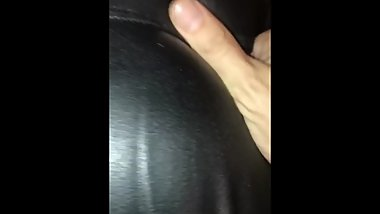 Wife's curvy bum sexy leather wet look
