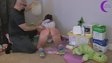 Diaper Girl Aria Gets Real Enema Messy Diaper Punishment - ABDL