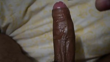 Stroking my Thick Black Cock