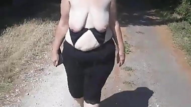 Topless walking