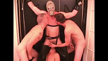 Frisky foursome guys tied up, fucked and nipple played!