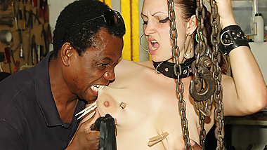 brutal big black cock interracial bdsm lesson