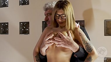 Blonde slave girl inspected