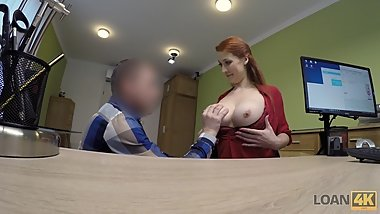 LOAN4K. Redhead with huge hooters has sex for cash with loan