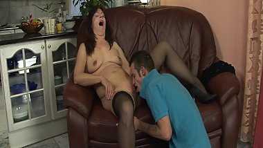 GILF season: Hot mature woman masturbates before fucking wit