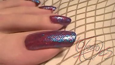 toosexytoes - Dark red - blue holography toenails -Close-up