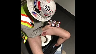 caught COWORKER hardhat stroking in stall so HOT