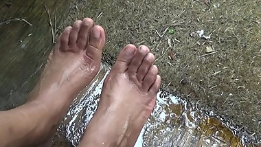 Sexy Ebony Feet Being Washed Outdoors
