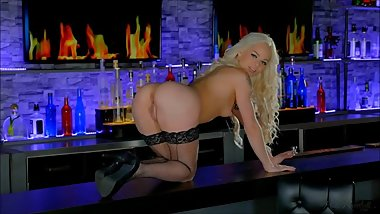Blonde babe Elsa Jean is like a barbie stripping in front of you