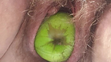 Hairy pussy birthing apples