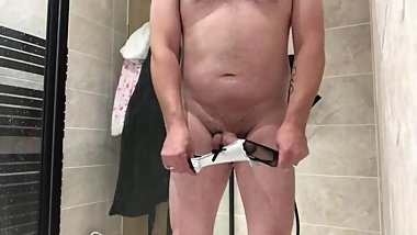 Wearing my hot wives satin slip and panties then showering