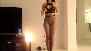 skinny european girl in fishnet stockings
