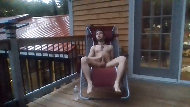 Hairy Twink Masturbates On Open Deck