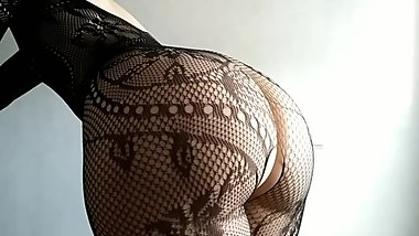 Sexy girl in fishnet farts