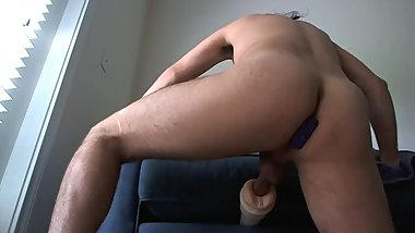 Shaved balls and asshole - fucking fleshlight with buttplug and orgasm
