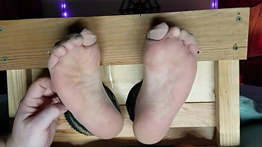 Nylon toe tie tickle