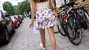 Upskirt girl with tan pantyhose