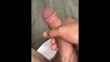 Teen edging and stroking big cock