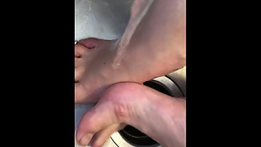 Ballerina Rosey's small muddy feet rub together get soapy & clean in sink