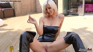 JENNIFER JADE Smoke and masturbate in latex dress and leather boots