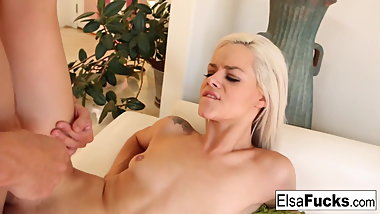 Pretty blonde Elsa teases the camera before getting fucked