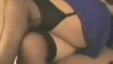 British wife fingers in stockings and garter belt 1