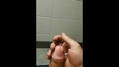 Blowing huge load in public restroom
