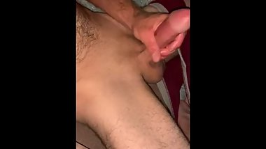 Cum build up release, stroking my big cock.