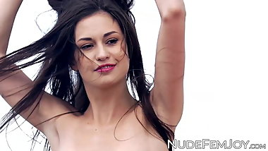 Young skinny seductress Edessa G bares her naked nubile body