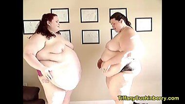2 SSBBW Show Off Their Huge Bellies and Smash Them Together