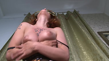 Redhead Wife Window Dance with a Big Wedgie on Puffy Pussy