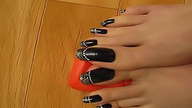 tosexytoes - Silver french on black toenails