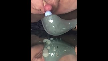 Squatting anal vibes forces second orgasm after 30 minutes edging