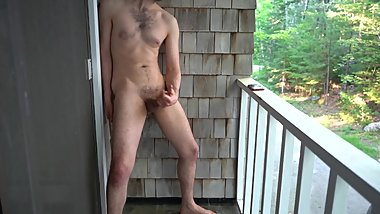 outdoor masturbation jerking off on my balcony