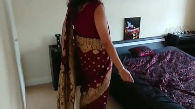 UK Based Desi bhabhi Red saree seduced and fucked by Devar