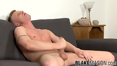 UK amateur Tom Sharp jerks uncut cock and shoots jizz