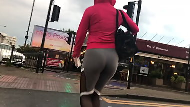Thick round Polska ass  in tight fitness pants