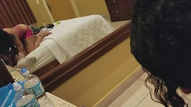 Latina slut sucks cock in Miami hotel room
