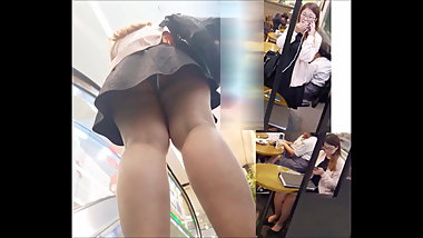 Singapore Upskirt 4 - Office lady black and white panties