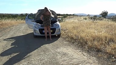 PAWG teen fucked for car repair - poor teenager stranded next to road
