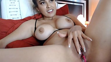 Sexy Latina with big tits shows it all