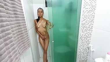 The little gaby 4K - masturbates in the shower