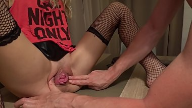 Pussy prolapse and squirting for my skinny GF on the table