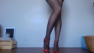 Long Legs With Pantyhose & Red Heels
