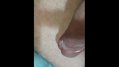 Stroking my thick bald cock while shoving vibrator in my tight ass